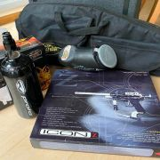 Paintball marker, hoppers, equipment case and air cylinder