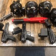 Paintball Marker Set and Helmets